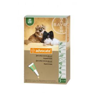 Средства защиты Advocate (Адвокат), капли для собак весом до 4 кг