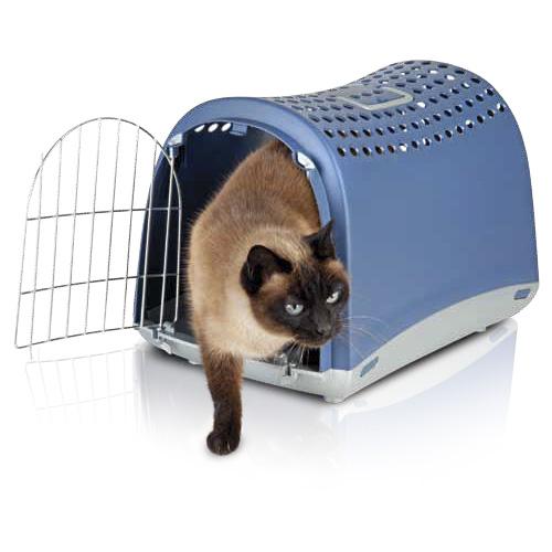 Imac ЛИНУС (LINUS) переноска для собак и кошек, пластик, синий цвет