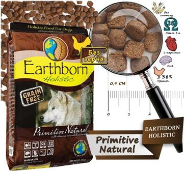 Earthborn Holistic Primitive Natural - беззерновой корм для собак всех пород / индейка, курица
