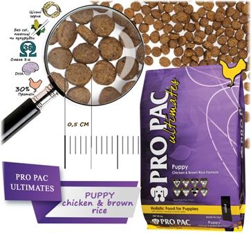 Pro Pac Ultimates Puppy - Корм для щенков всех пород (курица и бурый рис)